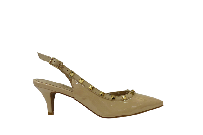 Picture of BRAZILIO Mid-Heel Studded Sling Back - Nude